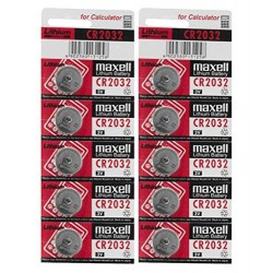10pcs 3V CR2032 Li-ion Battery (Non-Rechargeable) Button Coin Cell Battery for Calculator Watch Electonic Devices
