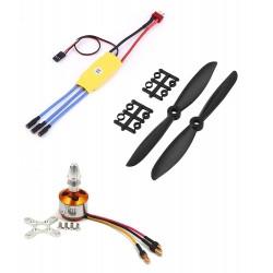 1Pcs 800KV BLDC Brushless Motor + 30A ESC + 6045 6x4.5 inch 6 inch Propeller Quadcopter mini kit
