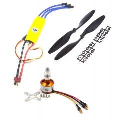1Pcs 1000KV BLDC Brushless Motor + 40A ESC + 8045 8x4.5 8 inch Propeller Quadcopter mini kit