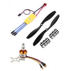 1Pcs 1000KV BLDC Brushless Motor + 30A ESC + 8045 8x4.5 8 inch Propeller Quadcopter mini kit