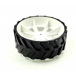 1pcs 110mm x 40mm Plastic Robotic Wheel Durable Rubber White Tire Wheel with metal collet for DC Geared Motor RC Car Robot