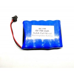 6V 700 mAh Polymer Ni-Cd Rechargeable 5 AA Cell Battery Pack for cordless phone Toy Car DIY Project