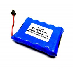 6V 1500 mAh Polymer Ni-Cd Rechargeable 5 AA Cell Battery Pack for cordless phone Toy Car DIY Project