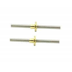 2Pcs 100mm (0.1 mtr) SS304 Threaded Rod M6 6mm OD + M6 nut 1mm Pitch 6mm T Nut Brass round Flange Single Nut for 3D Printer CNC Robotics