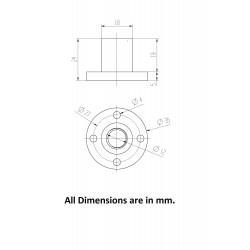 1Pcs M12 nut 1.75mm Pitch 12mm T Nut Brass round Flange Single Nut for 3D Printer CNC Robotics