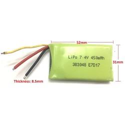 Lithium Polymer 7.4V 450 mAh 2S LiPO Battery for Drones Quadcopter Blade RC model Aircraft Power