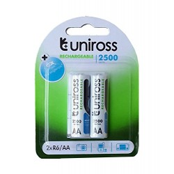 2pcs Uniross 2500 series 1.2V 2200 mAh AA Cell NiMH Rechargeable Battery - Home