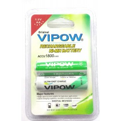 2pcs Vipow 1.2V 1800 mAh AA Cell NiMH Rechargeable Battery for Home toys clock