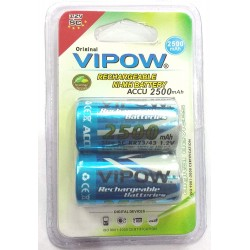 2pcs Vipow 1.2V 2500 mAh C Cell NiMH Rechargeable Battery for Home toys clock