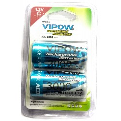 2pcs Vipow 1.2V 3000 mAh C Cell NiMH Rechargeable Battery for Home toys clock