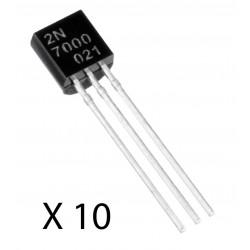 10Pcs 2N7000 MOSFET Transistor, N Channel, 200 mA, 60 V, 1.2 ohm, 10 V, 2.1 V